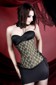 Timeless Trends Ivory and Black Lace Corset