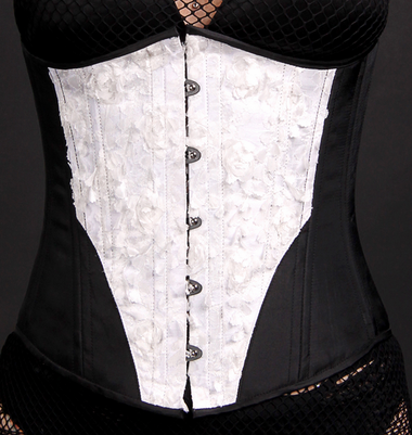 Timeless Trends White Ruffle with Solid Black Underbust Corset