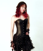 Timeless Trends Genuine Black Leather Overbust Corset