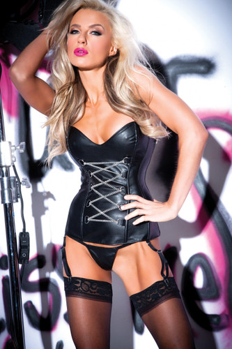 Faux Lingerie Leather Chains Of Pleasure Corset