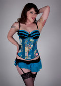 Timeless Trends Blue Floral Satin Corset