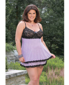 Coquette Plus Size Scalloped Stretch Lace and Mesh Babydoll with Adjustable Straps and G-String