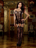 Dreamgirl Queen Size Lace Halter Fishnet Garter Dress with Opaque Bodice Lines