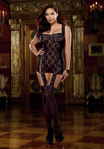 Dreamgirl Queen Size Lace Garter Dress with Stretch Trim Straps, Ribbon Back and Attached Stockings