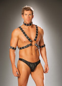 Elegant Moments Men s 4 piece adjustable harness Set includes leather harness arm bands and collar (L9663). Black