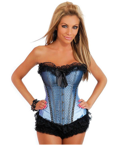Daisy Corset Burlesque Bows Strapless Corset with Front Busk Closure and Lace-Up Back with Thong