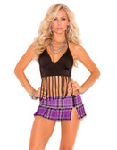 Elegant Moments Pleated Mini Skirt with Side Zipper - Purple Plaid