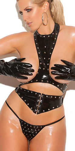 Elegant Moments 3Pc Set Vinyl Cupless Top with Cincher and G-string Queen