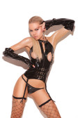 Elegant Moments Vinyl Cupless Bustier with Buckle Detail