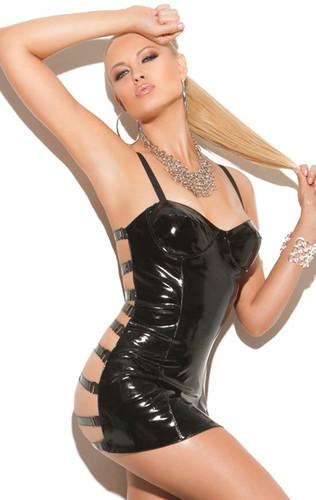 Elegant Moments Vinyl Mini Dress with Open Elastic Strap Back