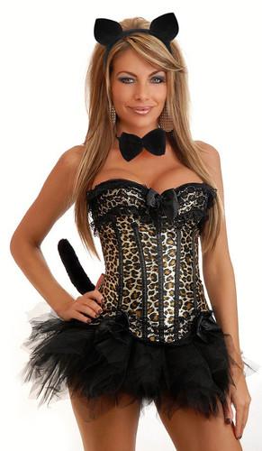 Daisy Corset 5Pc Burlesque Leopard Corset Costume