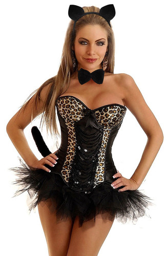 Daisy Corset 5Pc Sexy Pin-Up Leopard Costume