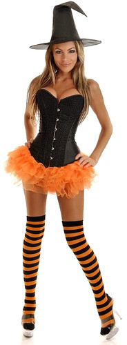 Daisy Corset 4Pc Glitter Pin-Up Witch Costume