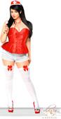 Daisy Corset 3Pc Red Nurse Corset Costume