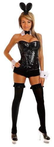 Daisy Corset 4Pc Sequin Pin-Up Bunny Costume