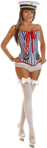 Daisy Corset 2Pc Pin-Up Sailor Girl Costume