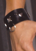 Elegant Moments Leather wrist cuffs with square nail heads and O rings. Black