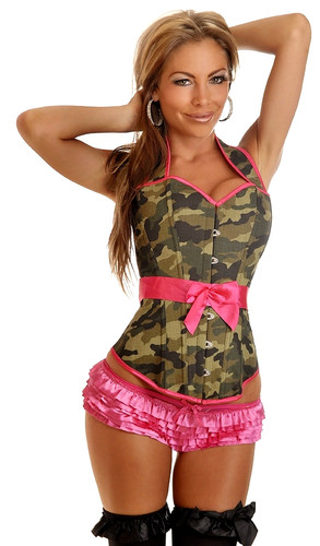 Daisy Corset Camouflage Halter Pin-Up Burlesque Corset