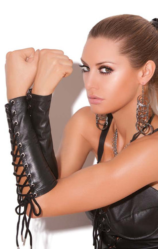Elegant Moments Leather Lace Up Gloves