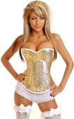 Daisy Corset Gold Sequin Underwire Zipper Corset