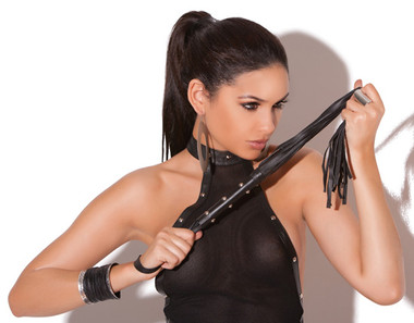 Elegant Moments Leather Whip with Studs