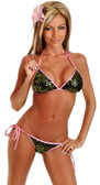 Daisy Corset Olive Sequin Pucker Back Bikini