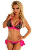 Daisy Corset Leopard Pucker Back Bikini