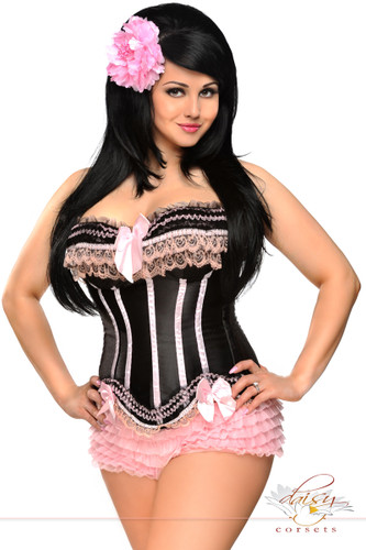 Daisy Corset Plus Size Underwire Ruffle Trim Pin-Up Corset