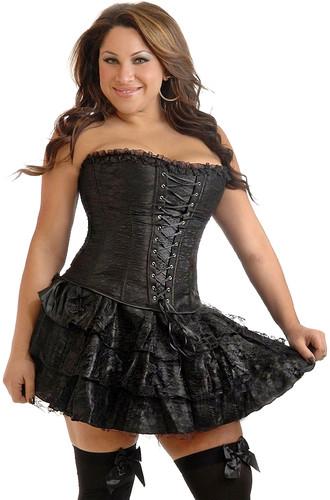 Daisy Corset Plus Size Black Lace Corset Dress
