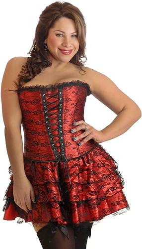 Daisy Corset Plus Size Red Lace Corset Dress
