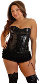 Daisy Corset Black Plus Size Sequin Underwire Zipper Corset