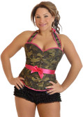 Daisy Corset Plus Size Camouflage Halter Pin-Up Burlesque Corset