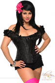 Daisy Corset Black Plus Size Steel Boned Embroidered Peasant Top Corset