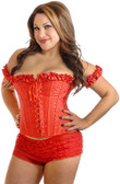 Daisy Corset Plus Size Embroidered Red Top Corset