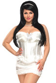 Daisy Corset Plus Size Burlesque Corset with Bows, Thong and Skirt