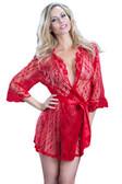 Oh La La Cheri Lace Robe with Belt - Red