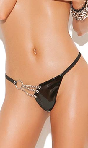 Elegant Moments Vinyl G-String with Chain Detail