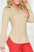 Ryocco Khaki Long Sleeve Blouse - Khaki
