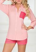 Ryocco Pink Long Sleeve Blouse