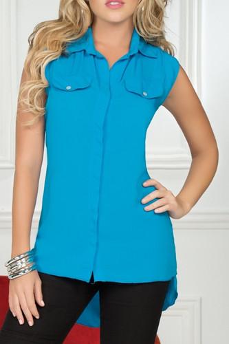 Ryocco Sleeveless Button Blouse with Long Hem - Blue