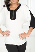 Ryocco 3/4 Blouse with Zipper Accent