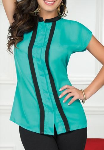 Ryocco Short Sleeve with Hidden Button - Blue