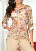 Ryocco 3/4 Flower Patterned See-Through Blouse