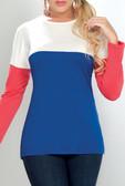 Ryocco Long Sleeve Tri-Color Blouse
