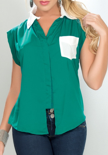 Ryocco Green Blouse with White Contrast