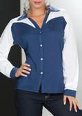Ryocco White and Blue Long Sleeve Blouse