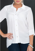 Ryocco White Blouse with Pleated on Top - White
