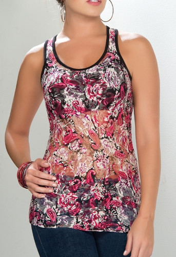 Ryocco See-Through T-Back Tank Top with Spiral Pattern - Fuchsia