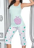 Ryocco 2 Piece Set Pajama Capri with Apple Print