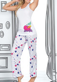 Ryocco 2 Piece Set Pajama Pants with Apple-Worm Print
